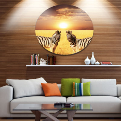 Designart Pair of Zebras in Field At Sunset ExtraLarge African Metal Circle Wall Art