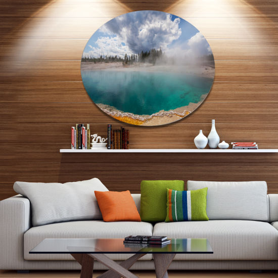 Designart West Thumb Geyser Basin in Yellowstone Oversized Landscape Metal Circle Wall Art