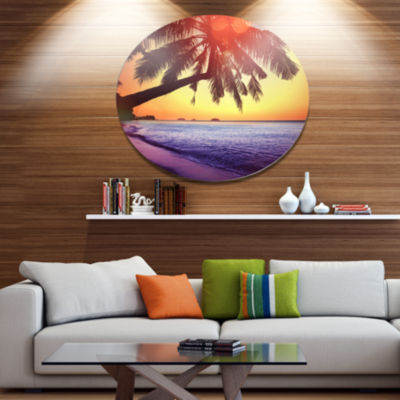 Designart Beach with Silhouettes of Palms SeashoreMetal Circle Wall Art