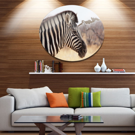 Designart Beautiful Zebra in Forest Abstract MetalCircle Wall Art
