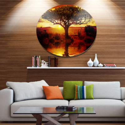 Designart Lonely Tree in African Sunset OversizedAfrican Landscape Metal Circle Wall Art