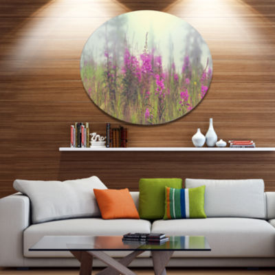 Designart Purple Summer Flowers in Foggy Field Floral Metal Circle Wall Art