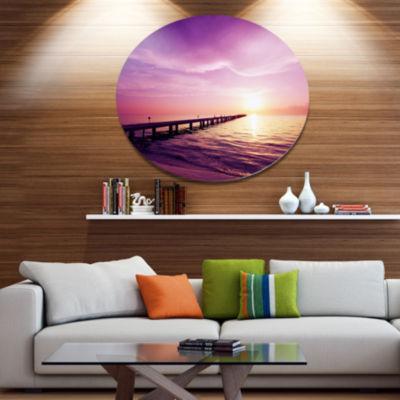 Designart Boardwalk in Purple Seashore Seashore Metal Circle Wall Art