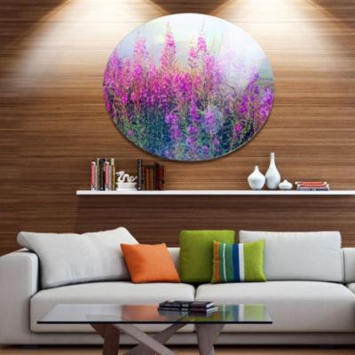 Designart Blooming Purple Flowers in Meadow LargeFlower Metal Circle Wall Art