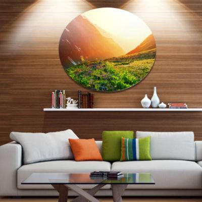 Designart Beautiful Meadow on Sunny Day OversizedLandscape Metal Circle Wall Art