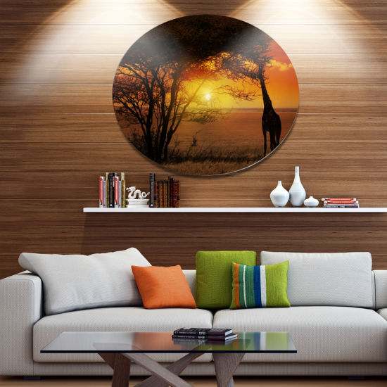 Designart Typical African Sunset with Giraffe Oversized African Landscape Metal Circle Wall Art