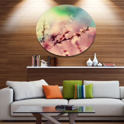 Designart Blossoming Pink Cherry Branches Floral Metal Circle Wall Art