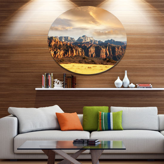 Designart Zion National Park Utah Usa Oversized Landscape Metal Circle Wall Art