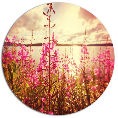 Designart Meadow with Purple Flowers Alaska FloralMetal Circle Wall Art