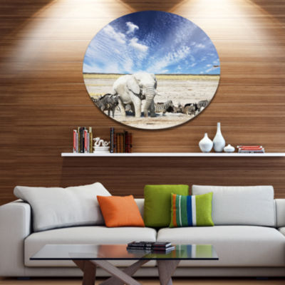 Designart Huge White Elephant and Zebras AbstractMetal Circle Wall Art