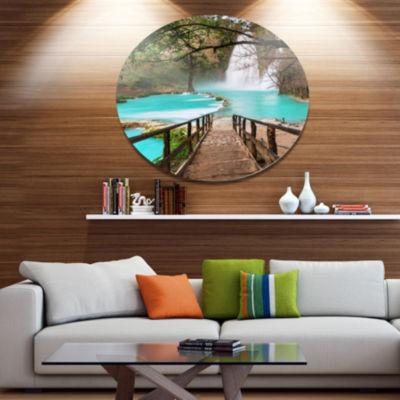 Designart Stairway into Beautiful Waterfall Oversized Landscape Metal Circle Wall Art