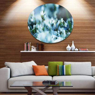 Designart Little White Flowers in Meadow Large Flower Metal Circle Wall Art