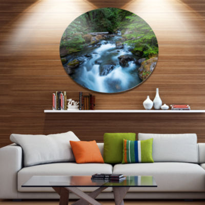 Designart Rushing Water in Forest Creek Extra Large Landscape Metal Circle Wall Art