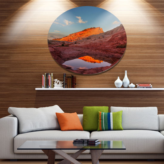 Designart Vermillion Cliffs Lake in Morning Oversized Landscape Metal Circle Wall Art