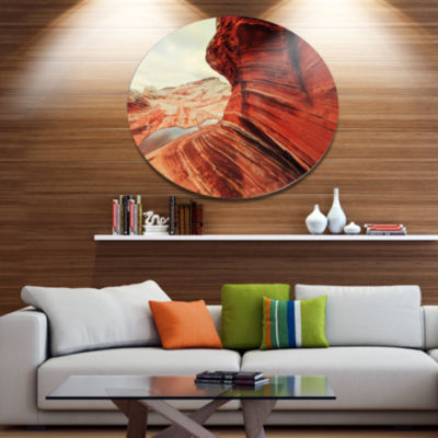 Designart Vermillion Cliffs Lake View Oversized Landscape Metal Circle Wall Art