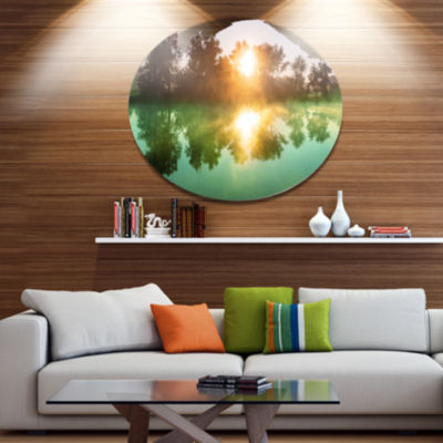 Designart Beautiful Summer River At Sunset Oversized Landscape Metal Circle Wall Art