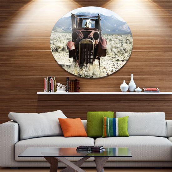 Designart Retro Car in Mountainous Area OversizedLandscape Metal Circle Wall Art
