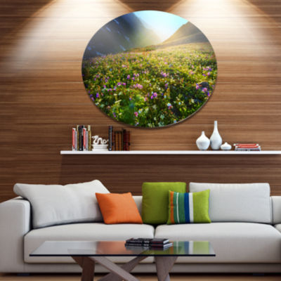 Designart Meadow with Colorful Flowers Oversized Landscape Metal Circle Wall Art