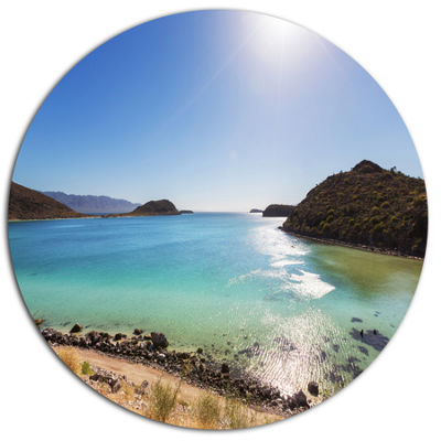 Designart Blue Baja California Beach Seashore Metal Circle Wall Art