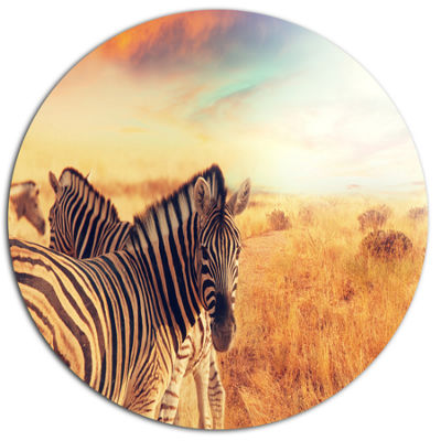 Designart Zebras Herd in Field At Sunset Extra Large African Metal Circle Wall Art