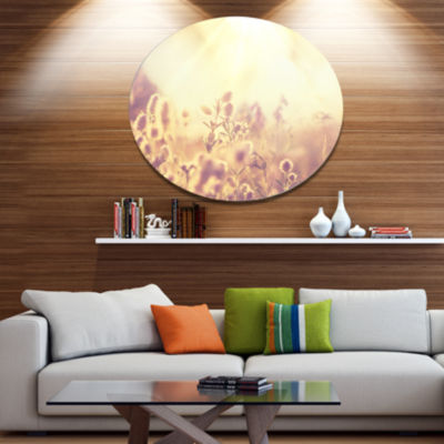 Designart Flowers in Mountain Meadow At Sunset Large Flower Metal Circle Wall Art