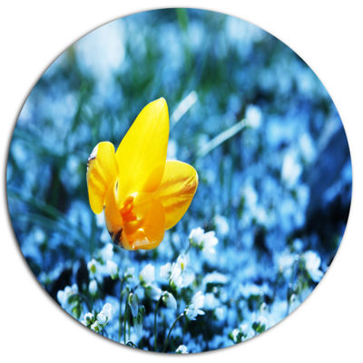 Designart Beautiful Yellow Flower on Blue Floral Metal Circle Wall Art