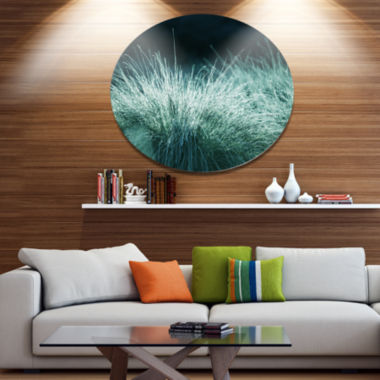 Designart Wet Green Grass in Downpour Oversized Landscape Metal Circle Wall Art