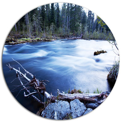 Designart Blue River in Forest At Evening Oversized Landscape Metal Circle Wall Art