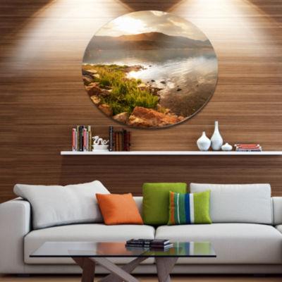 Designart Beautiful Lake with Rocky Shore Oversized Landscape Metal Circle Wall Art