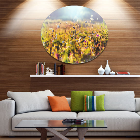 Designart Summer Flowers on Sunny Day Floral MetalCircle Wall Art