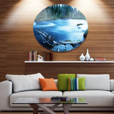 Designart Beautiful Blue River in Forest OversizedLandscape Metal Circle Wall Art