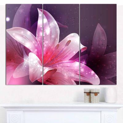 Designart Shining Pink Fractal Flower Art Canvas Print - 3 Panels