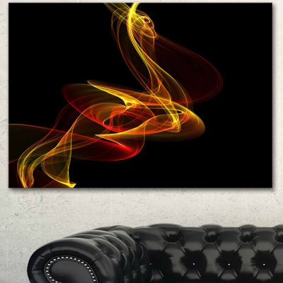 Designart Red Yellow Twisted Waves Fractal Abstract Canvas Wall Art