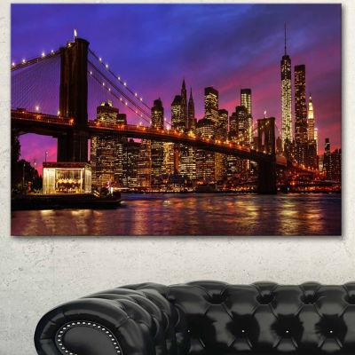 Designart Brooklyn Bridge And Manhattan At SunsetPink Canvas Art Print