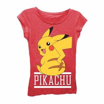Pokemon Girls' Pikachu Sitting Short Sleeve Graphic T-Shirt with Crystalline