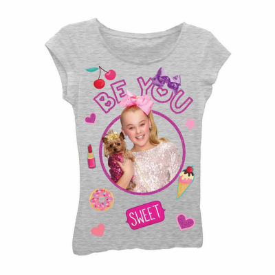 "JoJo Siwa ""Be You"" with Dog and Emojis Short Sleeve Graphic T-Shirt with Magenta Glitter - Girls 7-16"