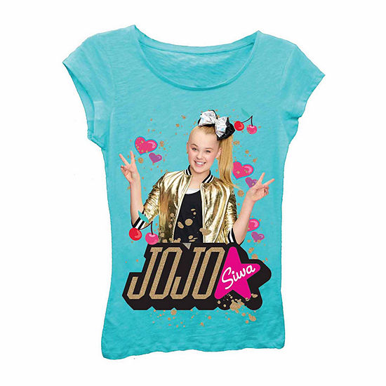 JoJo Siwa Peace Sign with Hearts and Cherries Short Sleeve Graphic T-Shirt with Gold Glitter-Girls 7-16