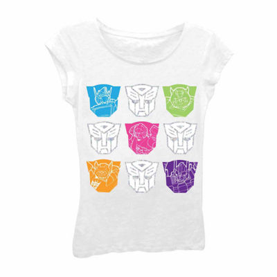 Transformers Girls' Colorful Faces Short Sleeve Graphic T-Shirt with Silver Foil