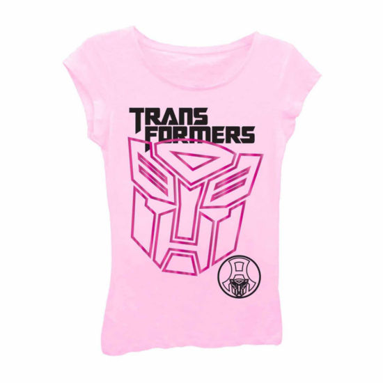 Transformers Girls' Giant Logo Short Sleeve Graphic T-Shirt with Pink Foil