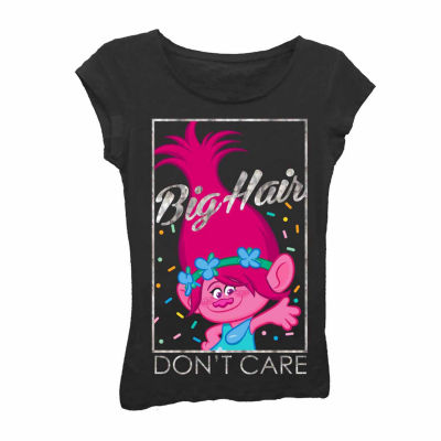 """Trolls Girls' """"Big Hair Don't Care"""" Short Sleeve Graphic T-Shirt with Silver Metallic"""