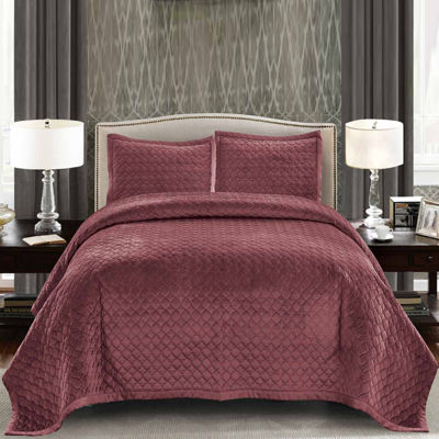 Wonder Home Tiberius 3PC Velvet Solid Quilt Set