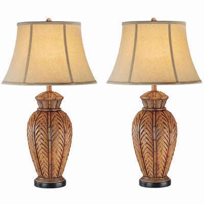 Seahaven Wicker Table Lamp Set