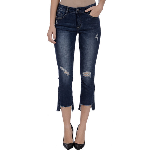 Lola Jeans Olive Mid-Rise Flared Crop