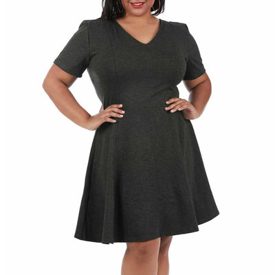 LaMonir Short Panel V-Neck Dress - Plus