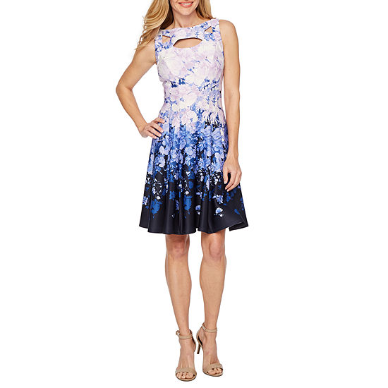 Danny Amp Nicole Sleeveless Floral Fit Amp Flare Dress Color