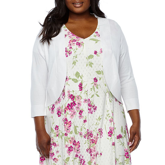 Ronni Nicole Womens 3/4 Sleeve Shrug-Plus