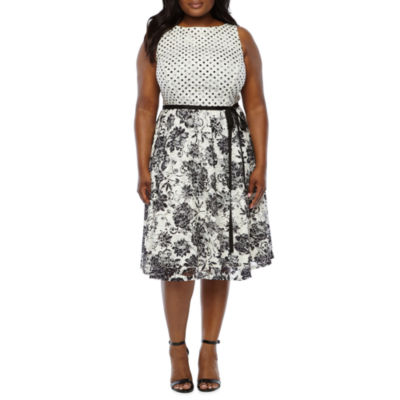Danny & Nicole Sleeveless Dot Floral Lace Fit & Flare Dress-Plus
