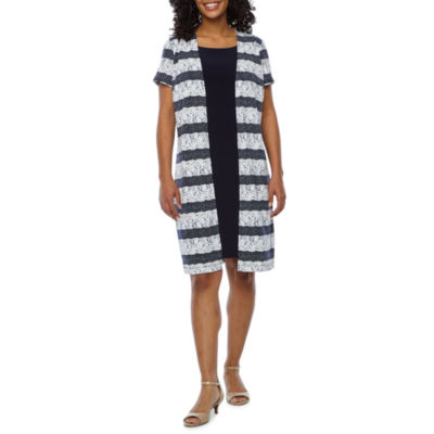 Perceptions Short Sleeve Stripe Sheath Dress-Petite