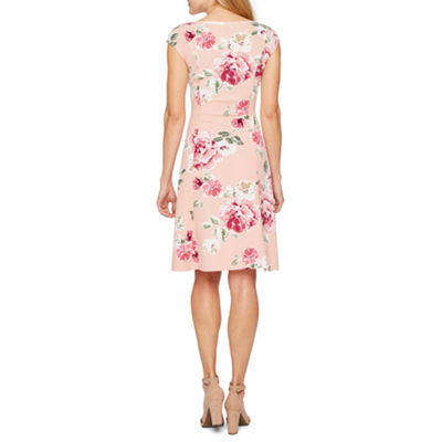 Ronni Nicole Sleeveless Floral Puff Print Fit & Flare Dress-Petite