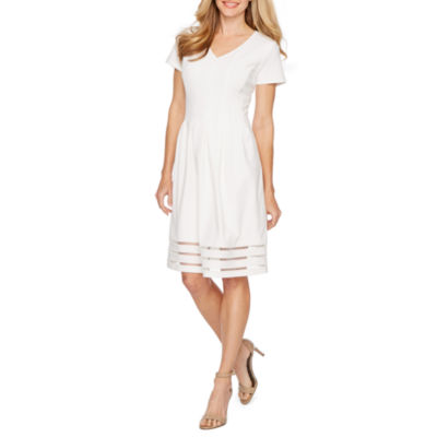 Ronni Nicole Short Sleeve Fit & Flare Dress-Petite